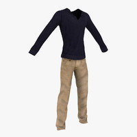 3d long sweater denim jeans model