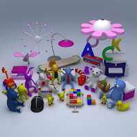 kids room deco 3d model