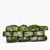 3d model modular stone wall