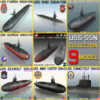 USS SSN & SSGN 9 MODEL SUBMARINE Collection