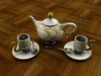 3d tea coffee teapot cup