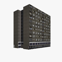 3d residential block house building model