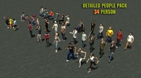 34 People Casual Urban 3d Pack