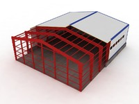 3d model industrial building h cut