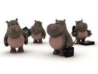 Cartoon hippo with a telephone, bag, I-pad, in a neutral position.