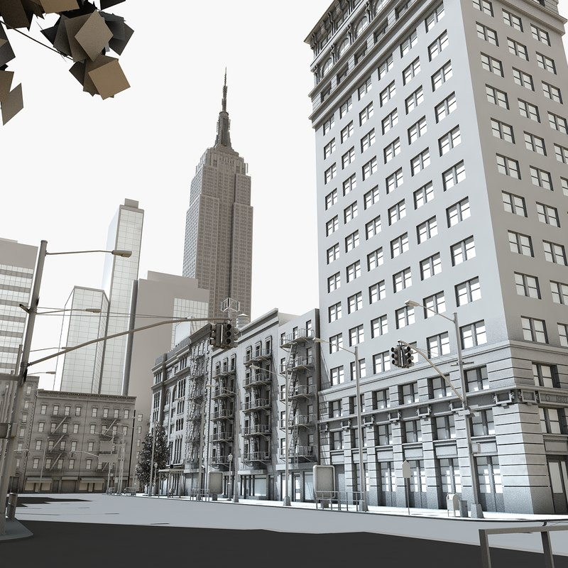 3d city block for Model house nyc