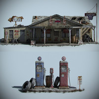 3d model old gas station