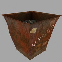 3d old dustbin model