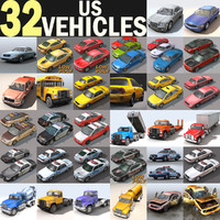 cars vehicles 32 trucks 3d model