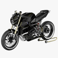 bmw motorcycle cafe racer 3d obj
