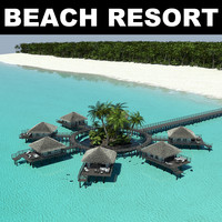 3d model of tropical beach