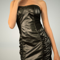 little black leather dress 3d obj