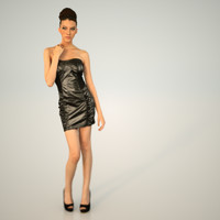 3d obj little black leather dress