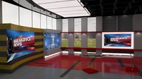 news studio room set 3d lwo