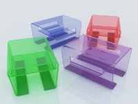 different colored glass tables max