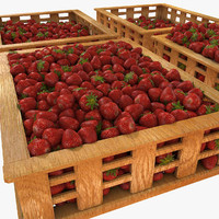 Strawberry Fruit Crates Case Market Store Shop Convenience General Grocery Greengrocery Detail Prop Fair Plantation Jungle South Plant Garden Greenhouse