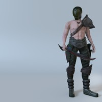 rigged male fighter 3d obj