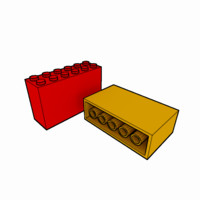 piece lego brick 2x6x3 3d 3ds