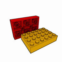 piece lego brick 4x6 3d model
