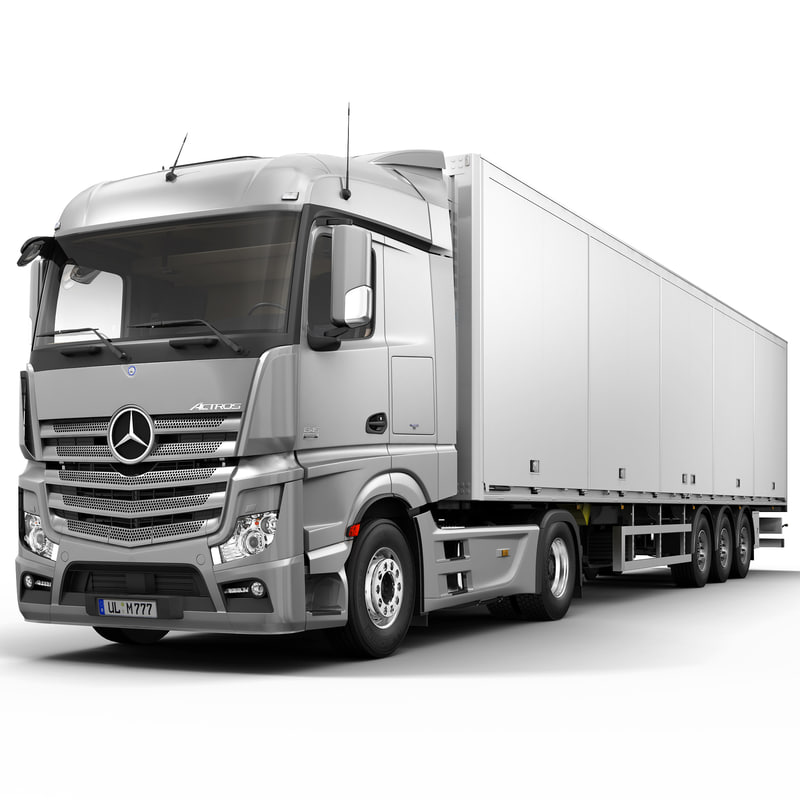 3d model mercedes actros semi trailer for Mercedes benz semi trucks