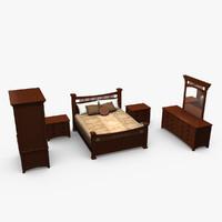 3d bedroom set bed model