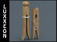 free obj model wooden peg clothespins