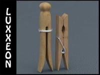 3d obj wooden peg clothespins
