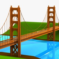cartoon bridge toon 3d model