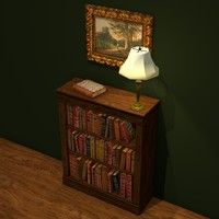 Traditional Small Bookcase 3d Model with Books, Lamp and Painting, Low Poly
