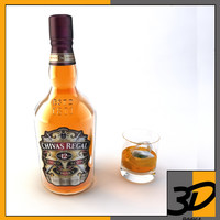 chivas whiskey glass 3d model