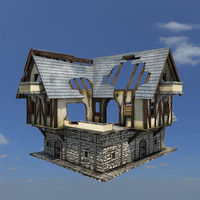 ruined medieval house buildings 3d obj