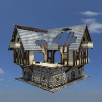 medieval house 3d obj