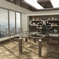 stylish office room 3d obj