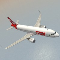 3d sharkleted airbus a320neo tam model