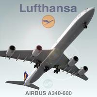 3ds max airbus a340-600 lufthansa