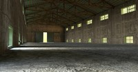 concrete warehouse wooden metal roof 3d obj