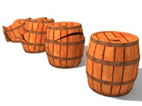 3d wood barrel model