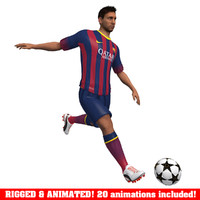 messi animations ball soccer 3d model