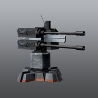 3d model gun turret