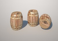 low-poly wooden barrel 3d max
