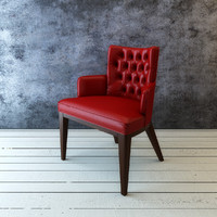 upholstered leather chair 3d model