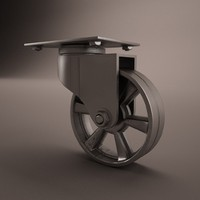 3d retro industrial metal caster
