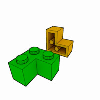 piece lego brick 1x2x2 3d model