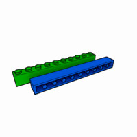 3ds piece lego brick 1x10