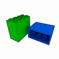 3d piece lego brick 2x4x3 model