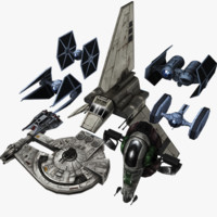 3d star wars pack fighter model