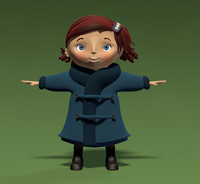 3d model virginia girl child cartoon female