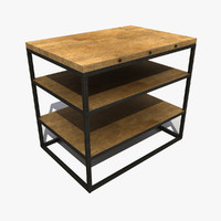 3d model old metal table