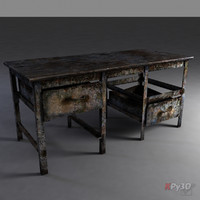 old rusty metal workbench 3d max