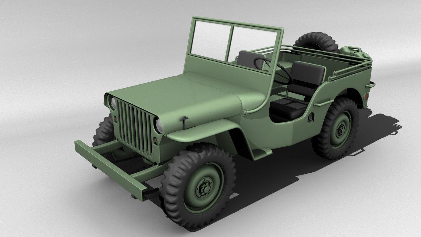 willys jeep 3d model. Black Bedroom Furniture Sets. Home Design Ideas